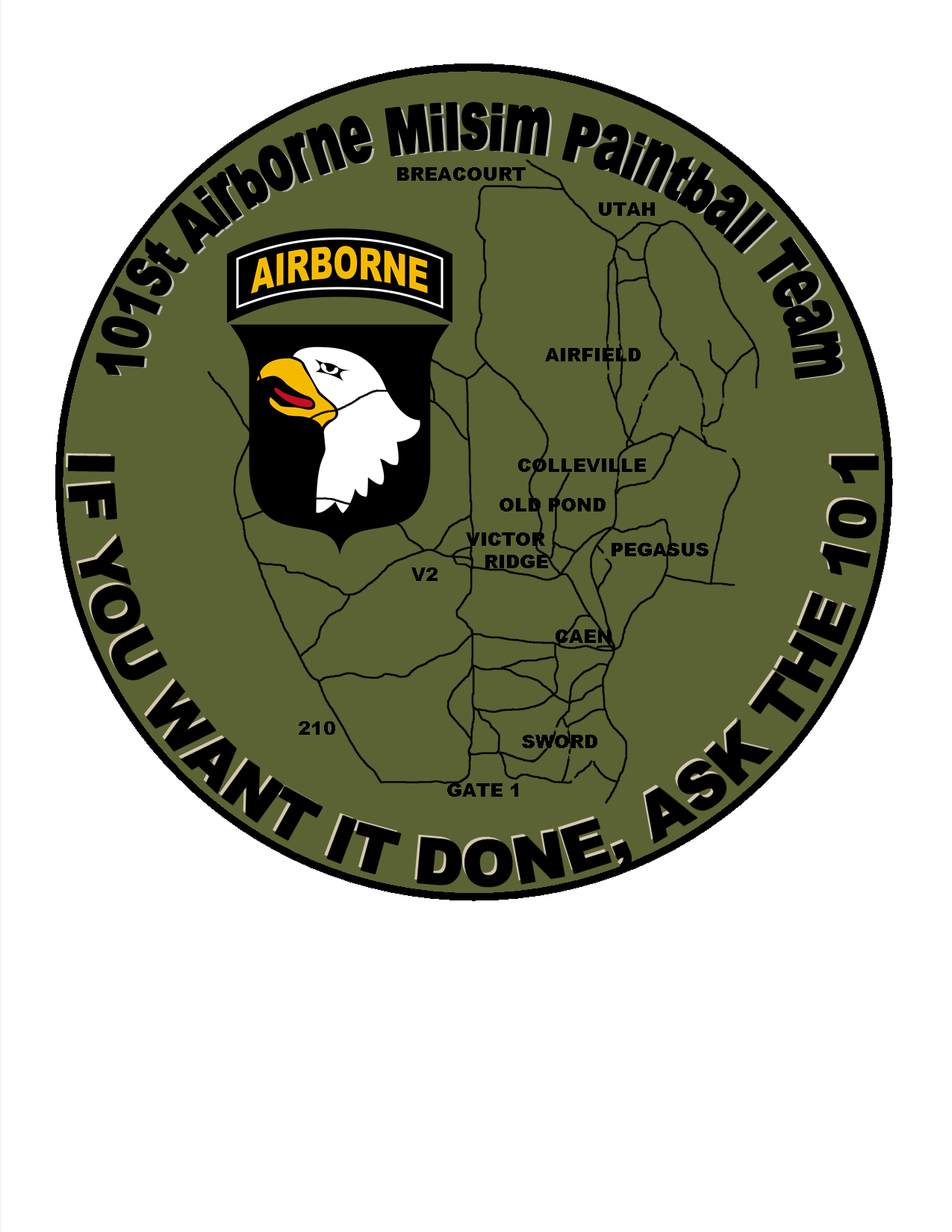 Custom 101st Airborne Paintball Team Patch